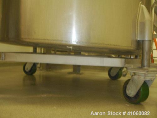 "Used-Tank, 500 Gallon, Stainless Steel. 50"" diameter x 64"" straight side, open top, flat bottom."