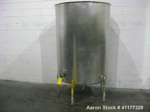 "Used- Tank, 500 Gallon, Stainless Steel, Vertical. 47"" diameter x 66"" straight side, open top, sloped bottom. Side bottom 3 ..."