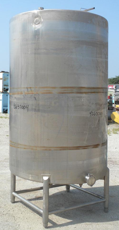 """Used- Tank, 825 Gallon, 304 Stainless Steel, Vertical. Approximately 55-1/2"""" diameter x 80"""" straight side, flat top, sloped ..."""