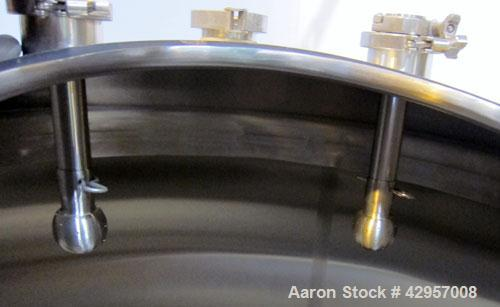 """Used- Tank, 500 Gallon, 316 Stainless Steel, Vertical. 52"""" Diameter x 55"""" straight side, dished top, coned bottom. Insulated..."""