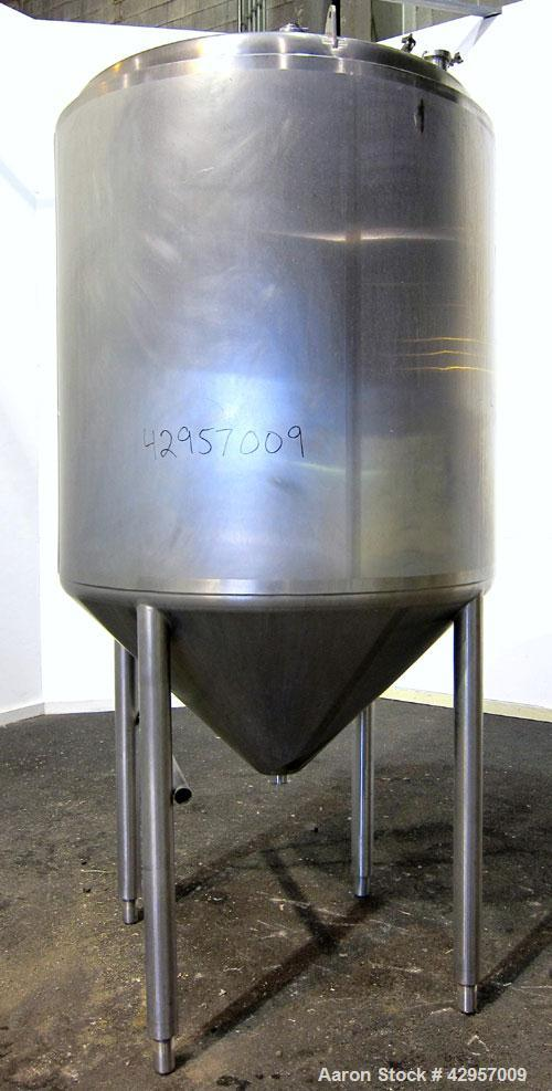 """Used- Tank, 500 Gallon, 316 Stainless Steel, Vertical. Dish top, insulated coned bottom. (2) Spray balls. Openings top 18"""" m..."""