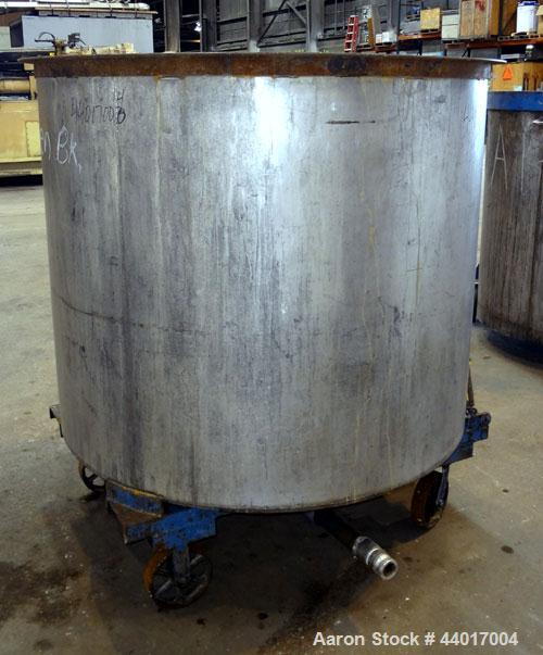"Used- Tank, 520 Gallons, 304 Stainless Steel, Vertical. Approximate 56-1/2"" diameter x 48"" straight side, open top, no cover..."