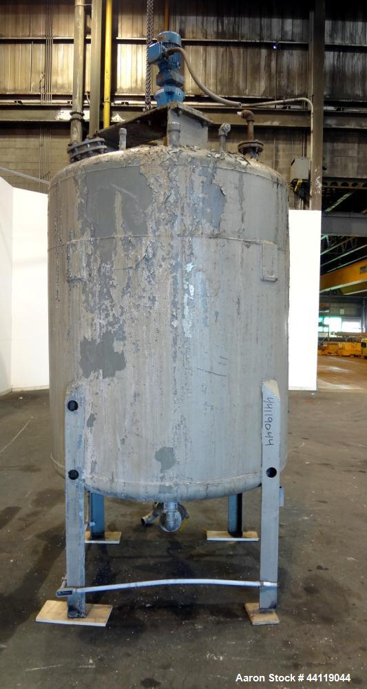 """Used- Tank, 750 Gallon, 316 Stainless Steel, Vertical. Approximate 60"""" diameter x 63"""" straight side, dished top and bottom. ..."""
