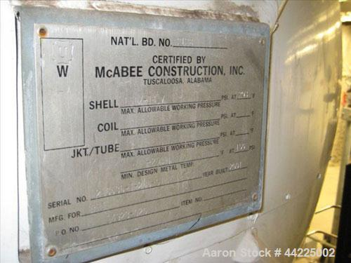 "Used- McAbee Pressure Tank, 700 Gallon, Stainless Steel, Horizontal. 36"" Diameter x 156"" straight side. Internal rated 150 p..."