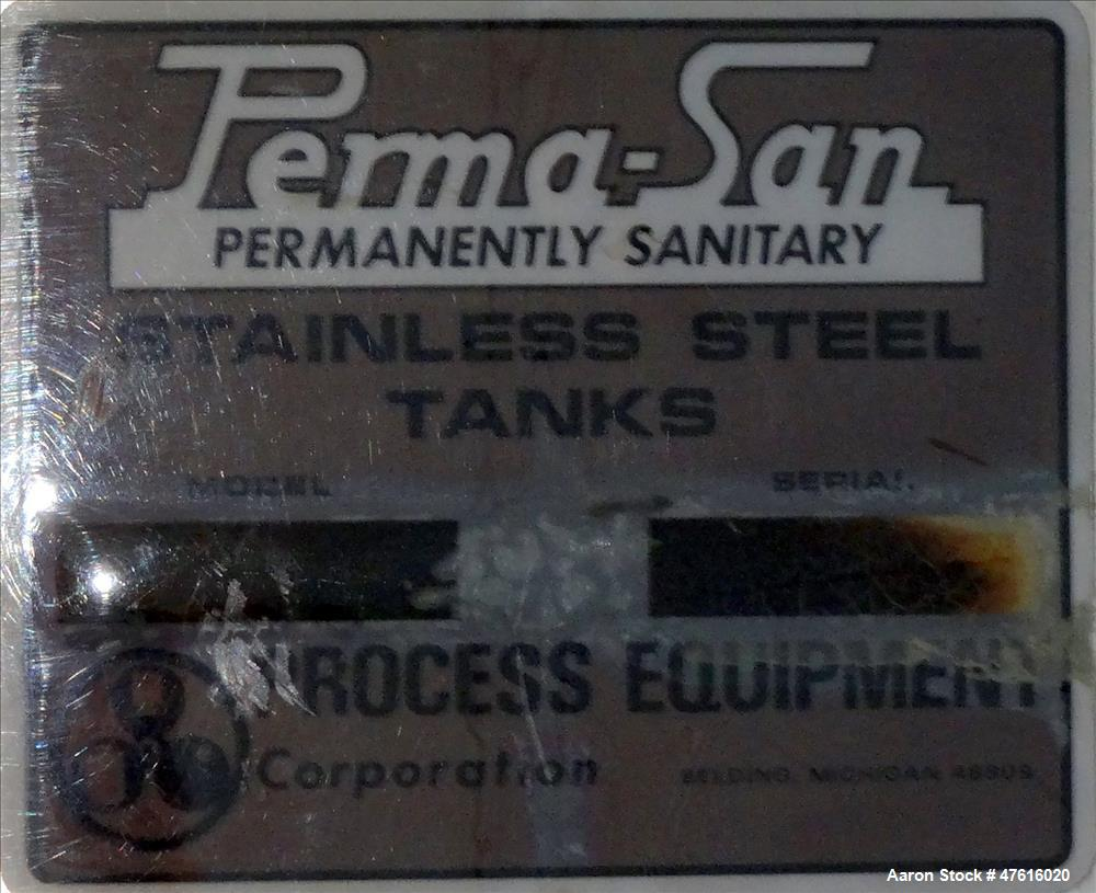 Used- Perma-San Mixing Tank, 650 Gallon, 316 Stainless Steel, Vertical.