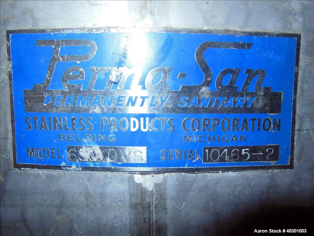 Used- 650 Gallon Stainless Steel Perma-San Tank, Model 650OVS