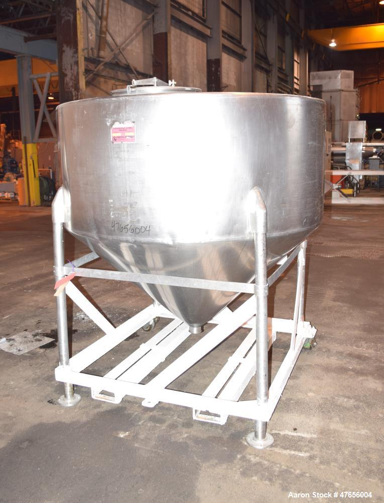 "Used- Perma-San Tank, 540 Gallon, Model CVC, 316 Stainless Steel, Vertical. 66"" Diameter x 27"" straight side, flat top, cone..."