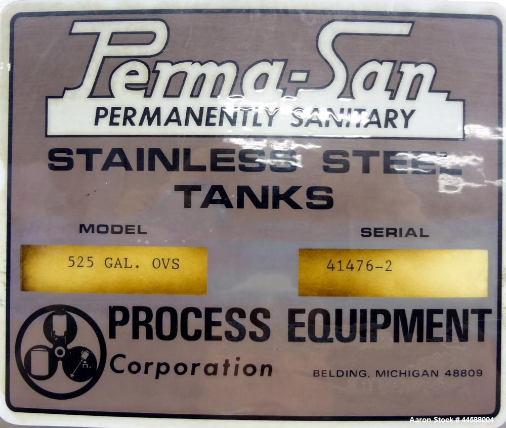 "Used- Perma-San Tank, 525 Gallon, Model OVS, 316 Stainless Steel, Vertical. Approximately 52"" diameter x 58"" straight side, ..."
