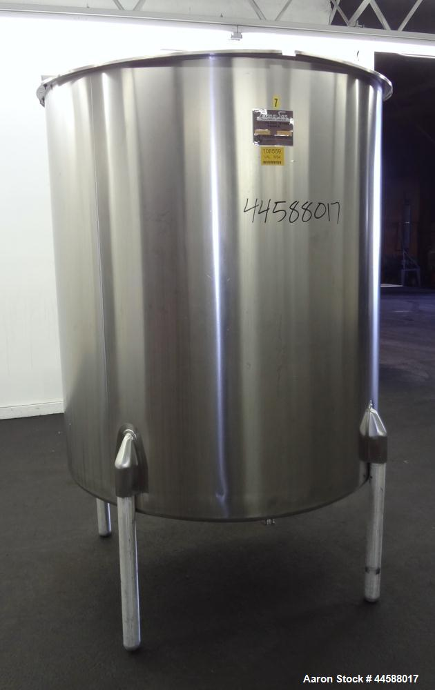 "Used- Perma-San Tank, 525 Gallon, Model OVS, 316 Stainless Steel, Vertical. Approximate 52"" diameter x 58"" straight side, Op..."