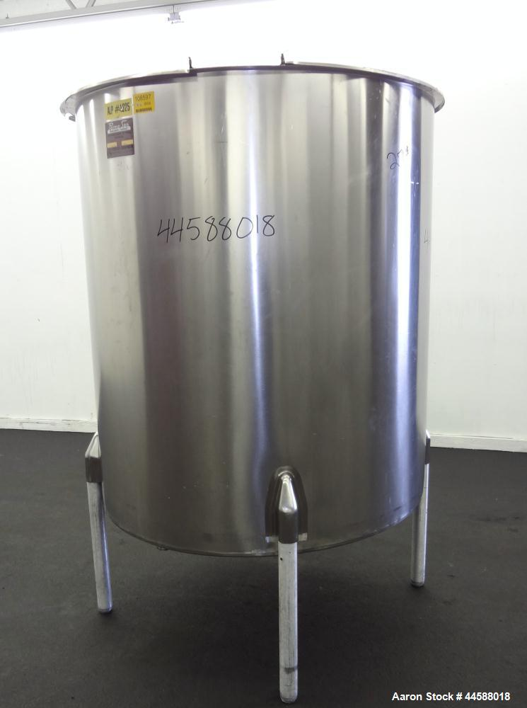 "Used- Perma-San Tank, 525 Gallons, Model OVS, 316 Stainless Steel, Vertical. Approximately 52"" diameter x 58"" straight side,..."