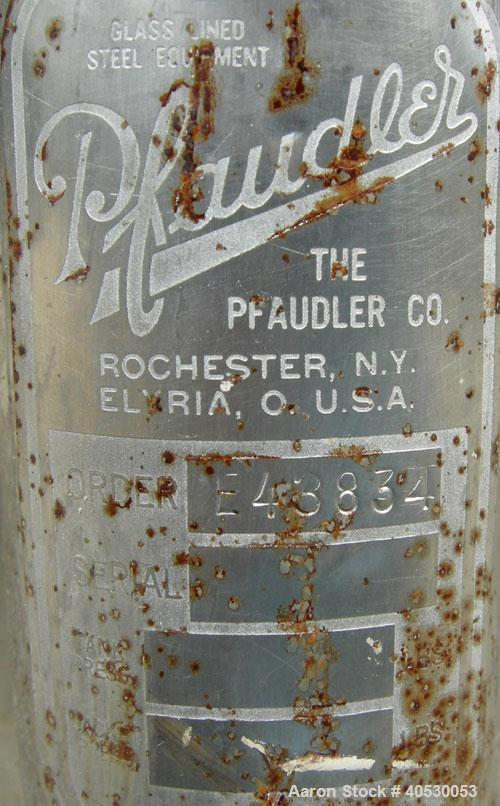 "Used- Pfaudler Tank, 500 Gallon, 304 stainless steel, vertical. Approximately 48"" diameter x 66"" straight side, open top wit..."