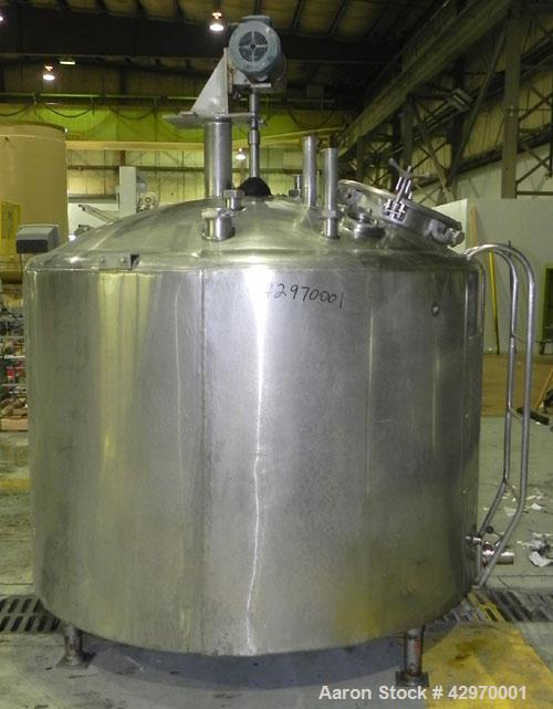 "Used- Pfaudler Tank, 500 Gallon, 304 Stainless Steel, Vertical. 66"" Diameter x 42"" straight side, dish top and sloped bottom..."