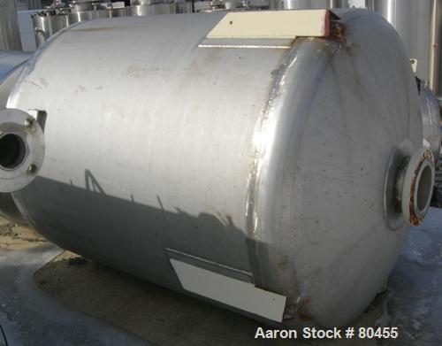 """USED: Piersol Pine Mfg Co tank, 750 gallons, 304 stainless steel,vertical. 60"""" diameter x 70"""" straight side, dished heads. V..."""
