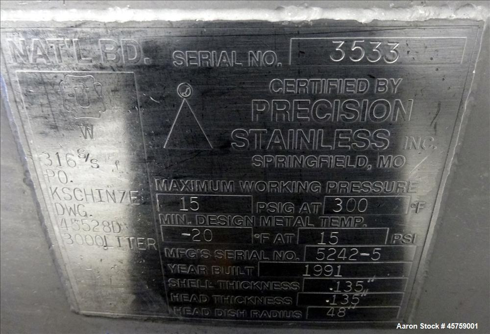 Used- Precision Stainless Tank, Approximately 792 Gallon