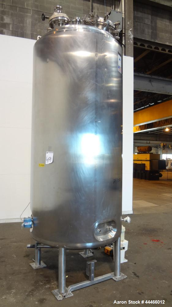 "Used- Precision Stainless Pressure Tank, 3000 Liter (792 Gallon), 316L Stainless Steel, Vertical. 48"" Diameter x 100"" straig..."