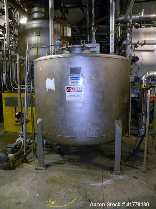 "Used- Roben Tank, 975 Gallon, Stainless Steel. Approximate 72"" diameter x 48"" straight side, flat top, dished bottom. Intern..."