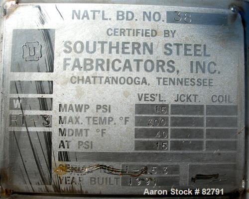 """USED: Southern Steel pressure tank, 600 gallon, 304L stainless steel, vertical. 54"""" diameter x 60"""" straight side. Dished top..."""
