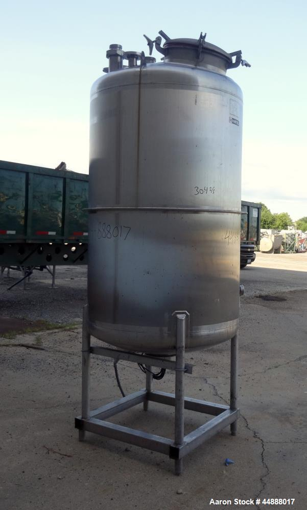 """Used- Tiger Steel Pressure Tank, 500 Gallon, 304L Stainless Steel, Vertical. 45"""" Diameter x 67"""" straight side, dished top & ..."""