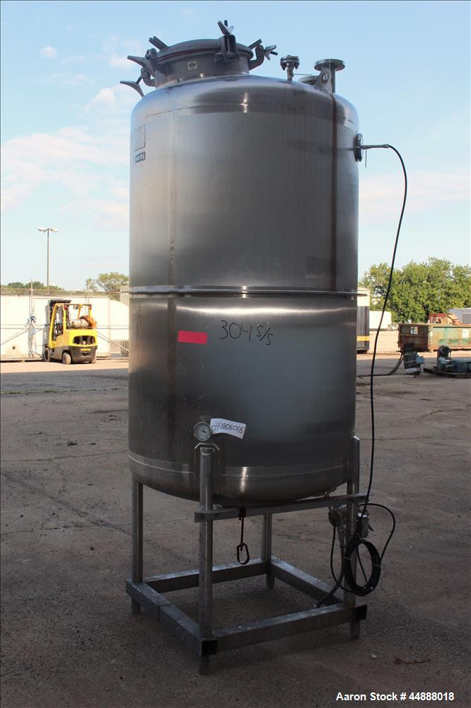 "Used- Tiger Steel Pressure Tank, 500 Gallon, 304L Stainless Steel, Vertical. 45"" Diameter x 67"" straight side, dished top & ..."
