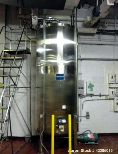 "Used- Tolan Tank, 850 Gallon, Stainless Steel. 48"" Diameter x 108"" straight side, flat top, dish bottom.  2"" Center bottom o..."