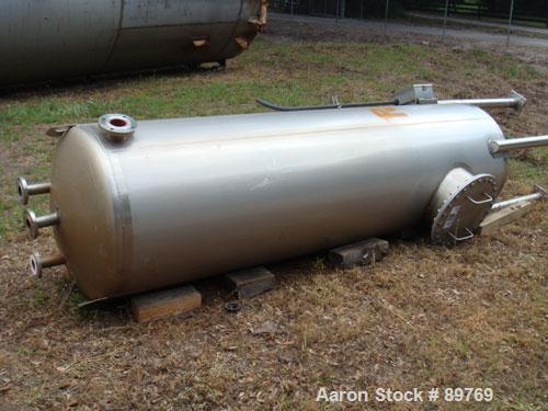 USED: Walker approximate 550 gallon, T304L stainless steel, tank. Approximately 3' diameter x 10' straight side. Dished head...