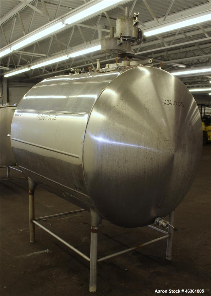 Used- Zero Milk Cooling Tank, Model WV600, 600 Gallons, 304 Stainless Steel, Hor