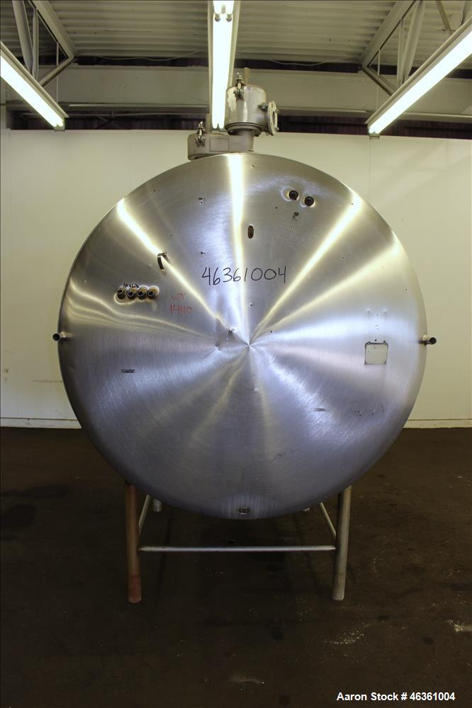 """Used- Zero Milk Cooling Tank, Approximately 800 Gallons, 304 Stainless Steel, Horizontal. Approximately 52"""" diameter x 78"""" s..."""