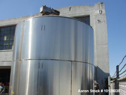 """Used- 6000 Gallon 304 Stainless Steel Vertical Tank with Dished Heads on Six Legs. Tank is 120"""" diameter with 111"""" straight ..."""