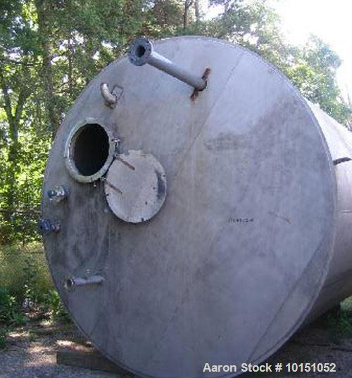 """Used-Approximate 10,000 gallon vertical 304 stainless steel tank. 10' Diameter x 15'10"""" straight side. With flat top and slo..."""