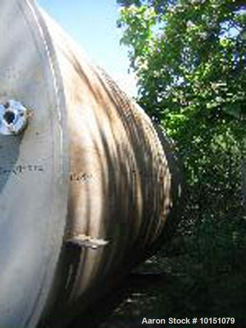 Used-Approximately 10,000 Gallon Vertical 304 Stainless Steel Tank. 10' Diameter x 16' straight side. Flat top with sloped b...