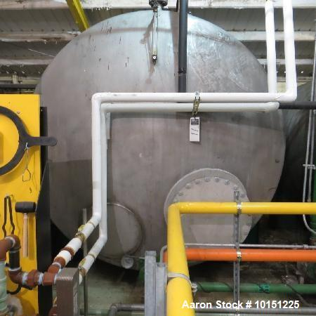 "Used- 5,375 Gallon Horizontal Stainless Steel Tank. 101"" diameter x approximately 155"" long, dished at both ends. Equipped w..."