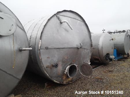 """Used- 5900 Gallon (Approximately), 304 Stainless Steel Vertical Storage Tank. Approximately 9'3"""" diameter x 12' Straight Sid..."""