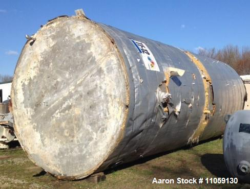 Used- 25,000 Gallon Stainless Steel Storage Tank. 12' diameter x 30' T/T. Flat bottom and cone top. Tank has a dimple jacket...
