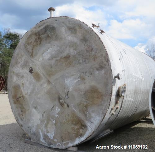 "Used- 14,000 Gallon Stainless Steel Storage Tank. 11'2"" diameter x 20' straight side. Dish top, flat bottom."