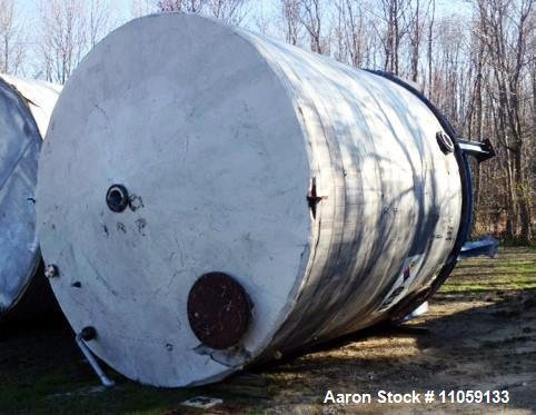 "Used-Approximately 13,000 Gallon Stainless Steel storage tank. 12'6"" diameter x 13' T/T. Unit has (1) turn of internal coil...."