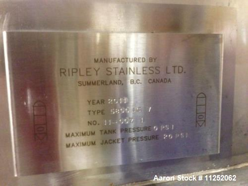 Used- Ripley Wine Fermentation Tank. 6,800 gallon capacity (26,000 liter). All 304 stainless steel construction. Measures 10...
