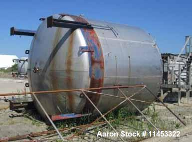 "Used- 11,500 Gallon Stainless Steel Storage Tank. 12'6"" diameter x 11' straight side, dish top and bottom, 4"", (2) 3"", (2) 2..."