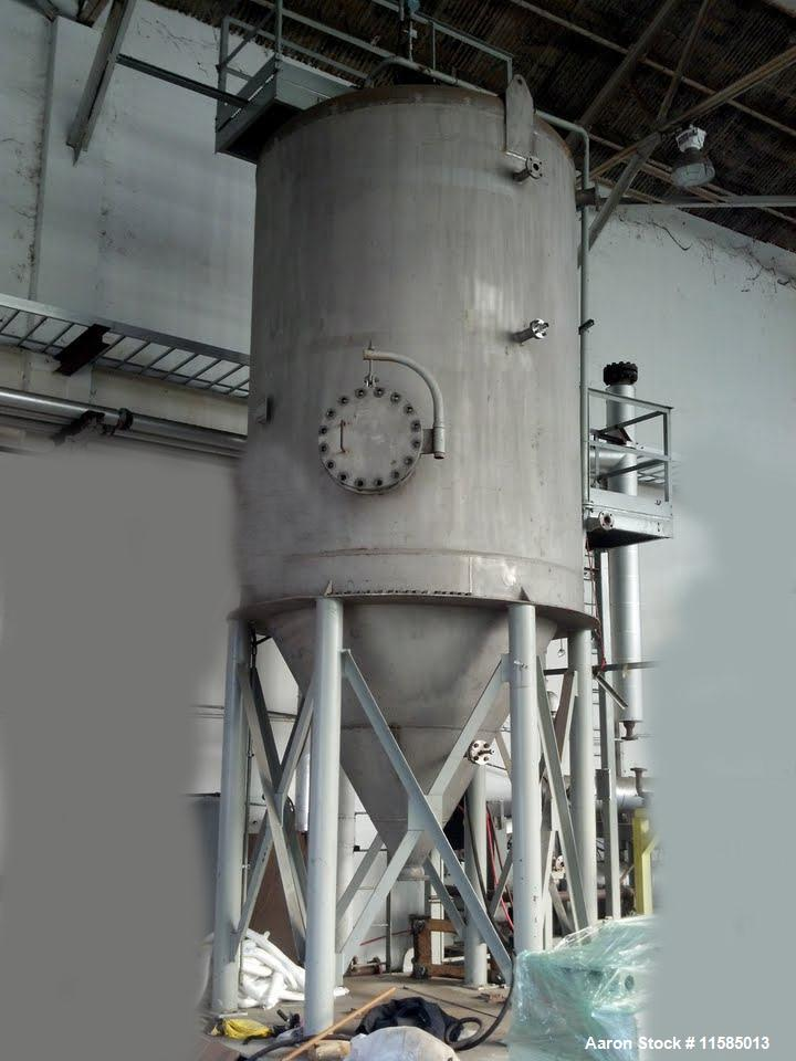 Used-Approximately 5000 Gallon Vertical T304L Stainless Steel Tank.  8' Diameter x 11' straight side with a conical bottom. ...