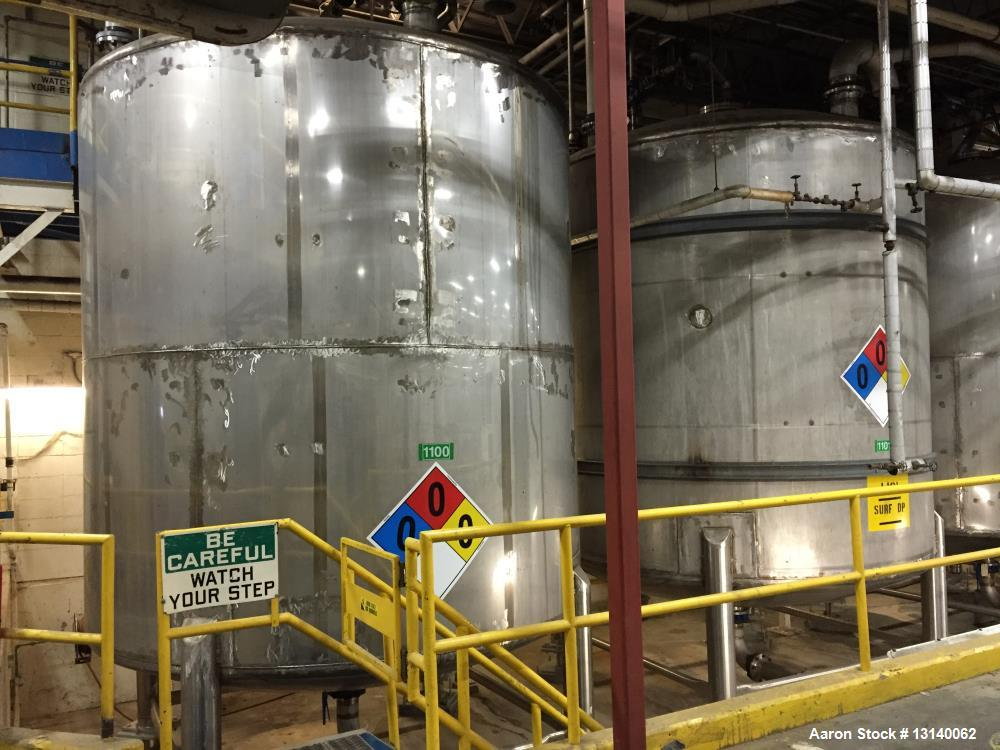 "Used approximately 10,500 gallon 316L stainless steel vertical storage tank. 12 diameter X 124"" high straight side. Welded d..."