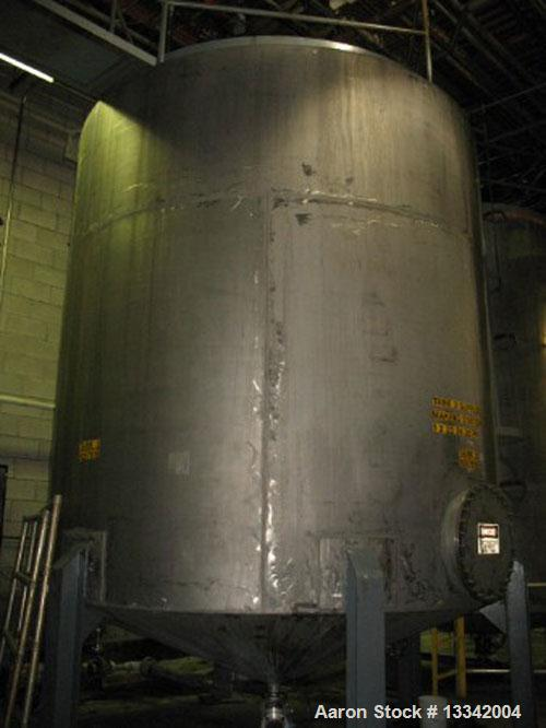 "Used-Approximately 8,600 Gallon, 316 Stainless Steel, Vertical Tank. Approximately 11' diameter x 183"" cone bottom. Side man..."