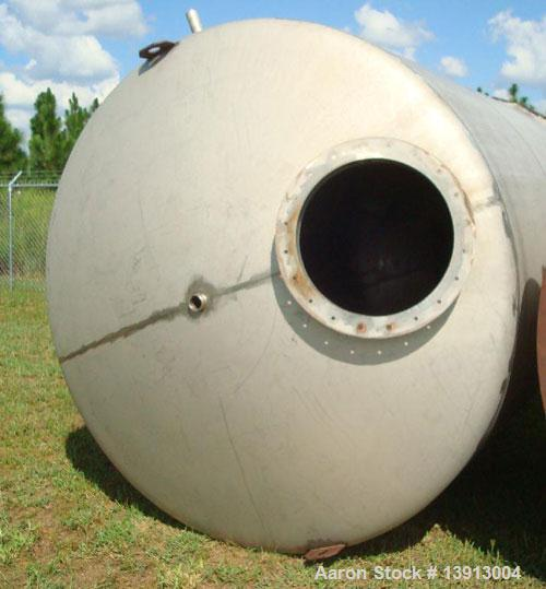 Used-5000 Gallon vertical, type 316 stainless steel, storage tank. Dome top and dish bottom. Tank is approximately 8' diamet...
