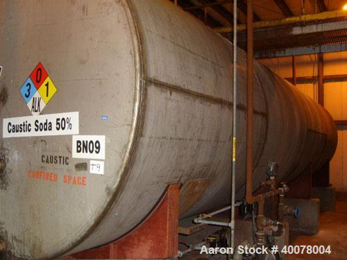 Used-20,000 Gallon Stainless Steel Horizontal Tank, approximately 9' x 32'.