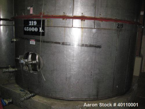 "Used: Westeel 17,196 Gallon (65,000 Liter) 304 Stainless Steel Storage Tank. Vertical Design. Approx. 10' Diameter x 31'6""  ..."