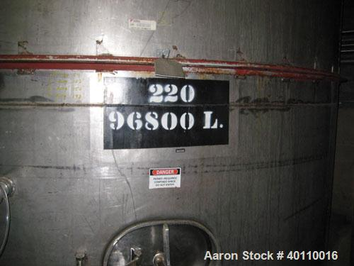 "Used: Westeel 25,608 Gallon (96,800 Liter) 304 stainless steel storage tank. Vertical design. Approx. 12' diameter x 31'6""  ..."