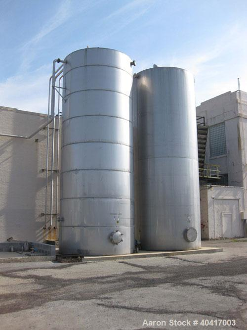 "Used-25,000 Gallon 304 Stainless Steel Vertical Storage Tank. Approximate 11'10""  diameter x 30' straight side, flat bottom,..."