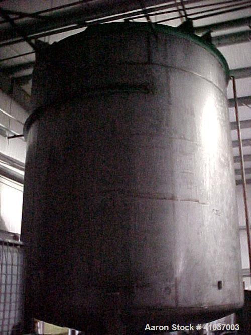 """Used- Tank, 9,500 Gallon, 316 Stainless Steel, Vertical. 11' dia x 12' 4"""" Straight Side. Includes aPhiladelphia Mixer;Model ..."""