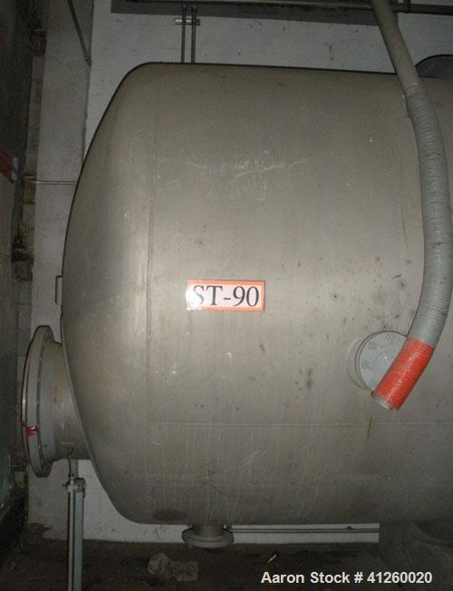 """Used-Tank, 10,000 Gallon, Stainless Steel. 7'6"""" diameter x  30' straight side.  Dished heads.  Various flanged top openings...."""