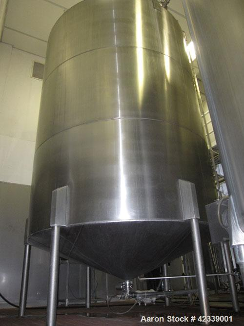 """Used-Tank, JV Northwest, 6,400 Gallon, stainless steel, 9' 3"""" diameter x 12' high.  Vertical, slight cone top and bottom.  T..."""