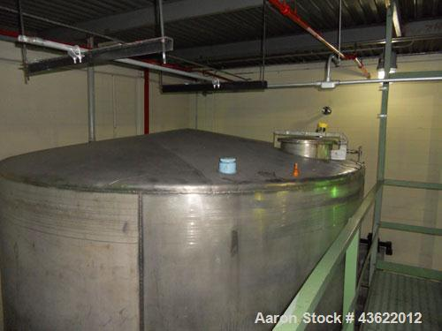 Used- Saracco Tank & Mfg Approximately 10,000 Gallon Stainless Steel Storage Tank. Approximately 12' diameter x 12' straight...