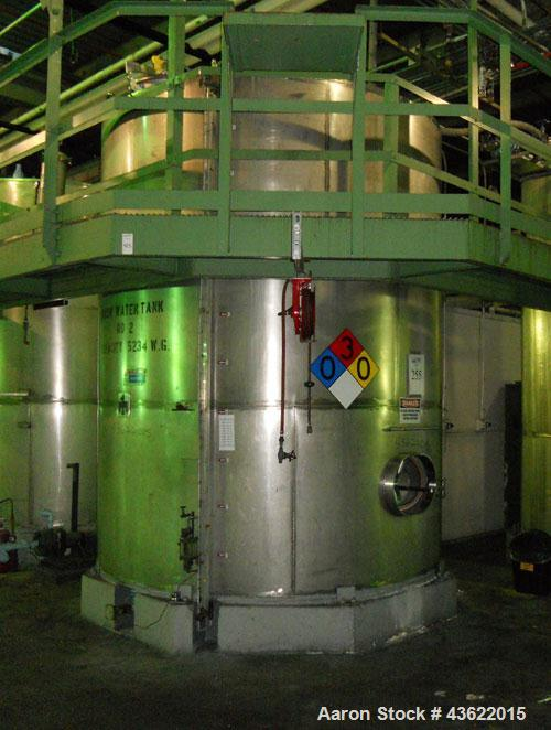Used- Krenz Approximately 5,200 Gallon Stainless Steel Storage Tank. Approximately 9' diameter x 11' straight side. Flat bot...